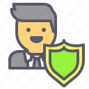 profile, protection, security, shield, user icon