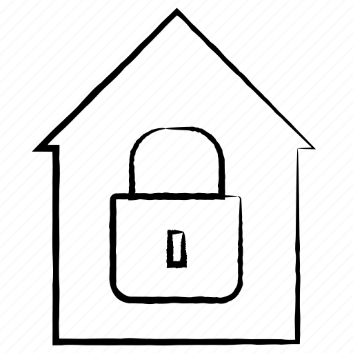Security Hut Symbol: House, Hut, Locked Icon