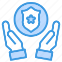 badge, cyber, hand, secure, security, shield, technology icon