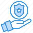 badge, cyber, police, secure, security, shield, technology icon