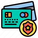 creditcard, cyber, secure, security, shield, technology icon