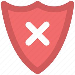cancel symbol, decline shield, exit, modern shield, no access, rejection, remove sign icon