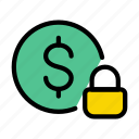 lock, protection, security, currency, dollar icon