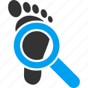 audit, explore, footprint, magnifier, search, step, track icon