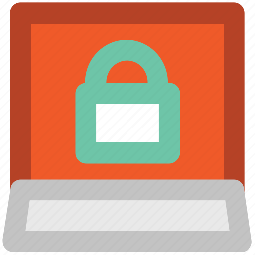 internet security, laptop, lock sign, monitored, pc protection, privacy, spyware icon