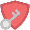 approved, guard, key sign, protecting symbol, quality, security, shield icon