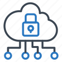 cloud, lock, protect, security, server, shield icon
