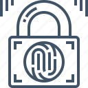 fingerprint, key, padlock, password, safety, security, unlock icon