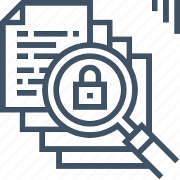 checking, files, lock, magnifier, protect, search, security icon