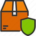 box, delivery, protection, security, shield, shipping icon
