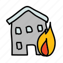 building, emergency, fire, flame, safety, security icon