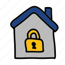 door, house, lock, safety, security icon