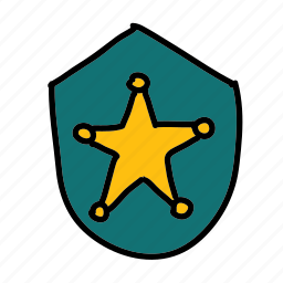 badge, police, security, shape, shield, star icon