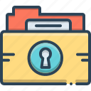 document, folder, folder protection, lock, privacy, protection icon