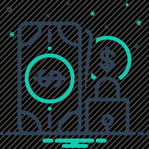money, protection, reliability, safe, safe money icon