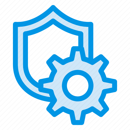 gear, protect, protection, secure, security, settings, shield icon