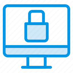 computer, display, locked, monitor, protected, protector, secure icon