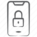 mobile lock, mobile safety, secured mobile, smartphone locked, smartphone protection icon