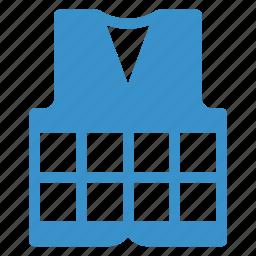 clothes, downjacket, emergency, jacket, lifepreserver, rescue, safety icon