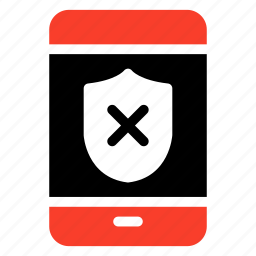 mobile, phone, security, shield, smartphone, unprotect, unsecure icon