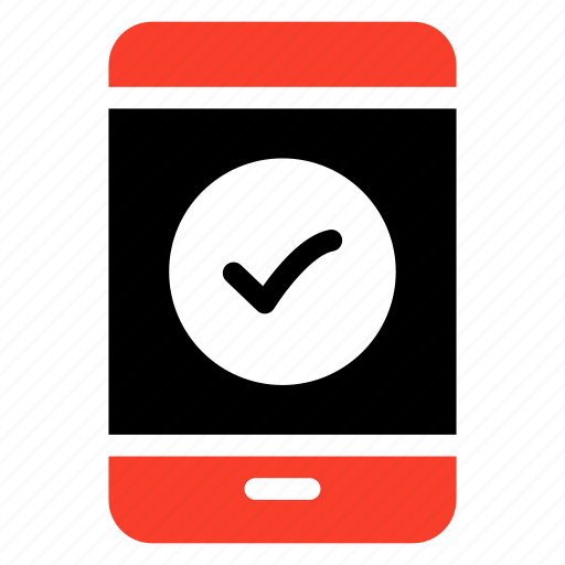 checked, done, mobile, phone, smartphone, tick, verified icon