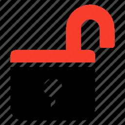 lock, opened, password, protect, security, unlock, unlocked icon