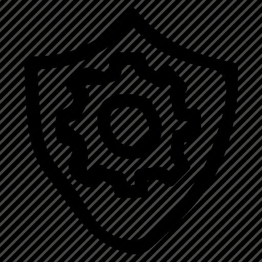 configuration, configure, control, gear, security, setting, shield icon