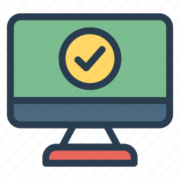 checked, correct, marked, monitor, screen, success, tick icon
