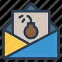bomb, email, error, mail, open, spam, virus