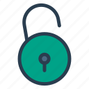 access, opened, security, unlock, unlocked, unlockpadlock, unsecure icon