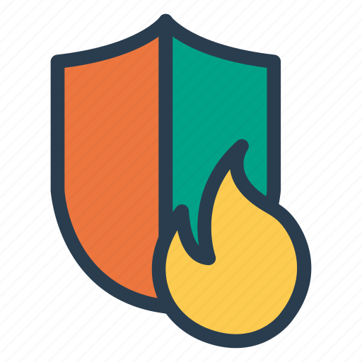 fire, protect, protection, safe, safety, security, shield icon