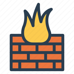 bricks, brickwall, firewall, flame, protect, security, wall icon