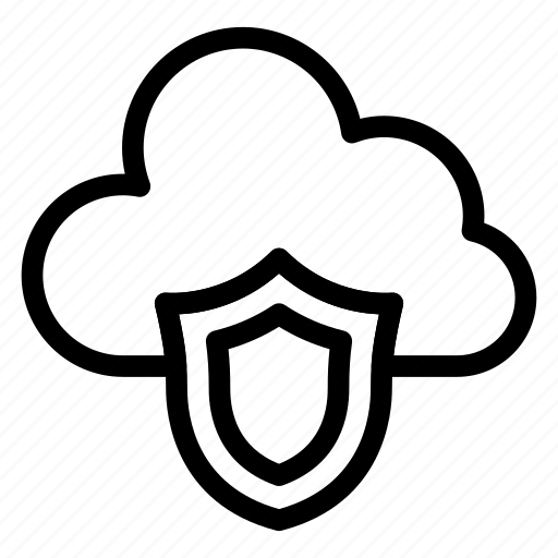 cloud, cloudnetwork, cloudy, private, protection, shield, sky icon