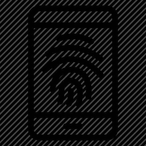 finger, fingerprint, mobile, print, safety, scanner, secure icon