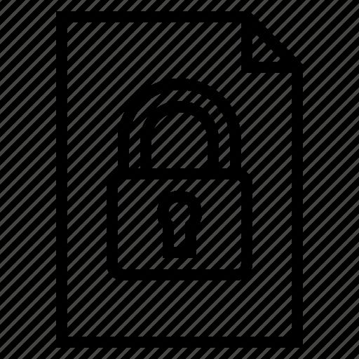 document, encrypted file, locked document, secret document, secret file, secure document, security icon