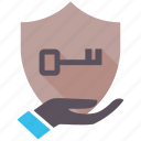 encryption, firewall, guard, key, security, shield icon