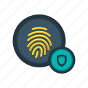 access, fingerprint, lock, protection, scan, secured, sensor icon