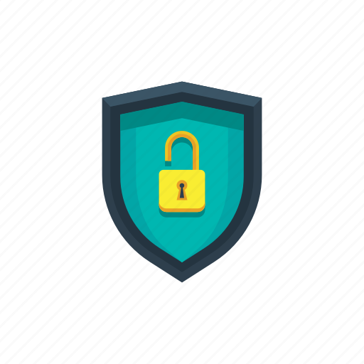disabled, padlock, privacy, protection, security, shield, unlock icon