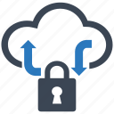 cloud, data, lock, network, protection, security, server icon