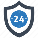 hour, protected, protection, safety, secure, security, shield icon