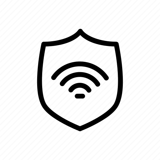 access, authentication, internet, protection, security, shield, wifi icon