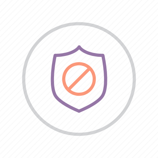 authentication, ban, failure, protection, secure, security, shield icon