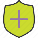 add, authentication, new, protection, secure, security, shield icon