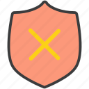 authentication, cancel, protection, remove, secure, security, shield icon