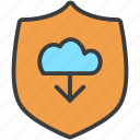cloud, download, protection, secure, security, shield, storage icon