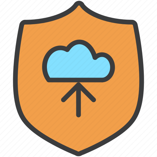 cloud, protection, secure, security, shield, storage, upload icon