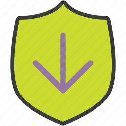 download, protection, save, secure, security, shield, transfer icon