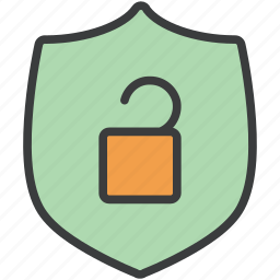 access, authentication, protection, secure, security, shield, unlock icon