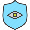 access, authentication, permission, protection, security, shield, view icon
