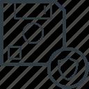 data security, database, floppy disk, locked data, shield sign icon